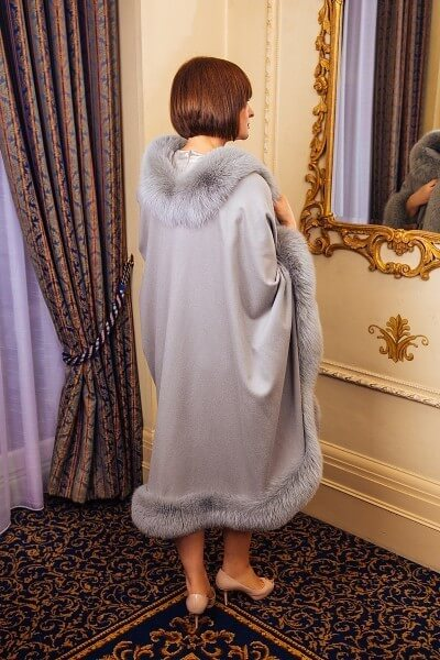real fur-line cape grey coloured