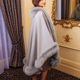 amazing grey fur-lined cape for sale