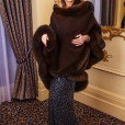 Chocolate Brown Fur Trimmed Cape