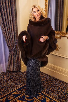 Chocolate Brown FurTrimmed Cape
