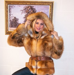 red fox fur coat with hood and belt attached