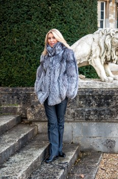 silver fox real fur coat