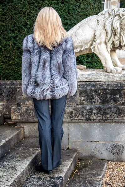 3/4 length real fur coat from silver fox