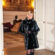 black mink knee lenght coat with belt